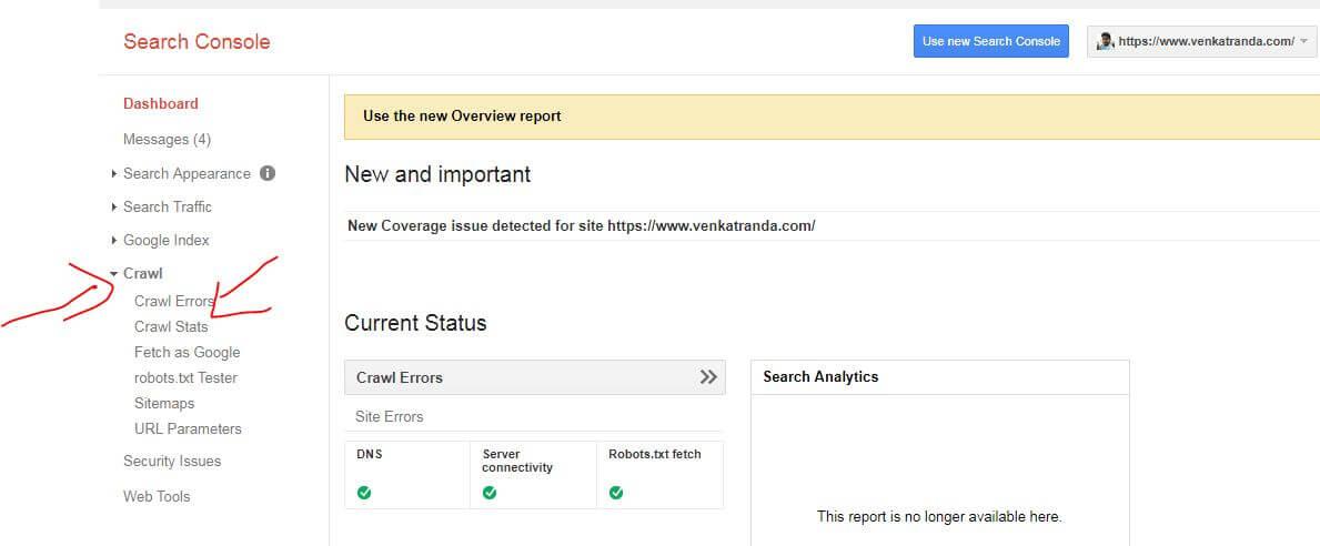 google search console crawl tab - fix 404 errors in wordpress