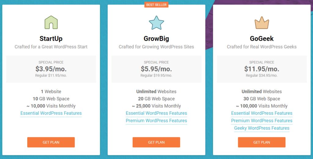 Siteground WordPress Hosting Plans 2019