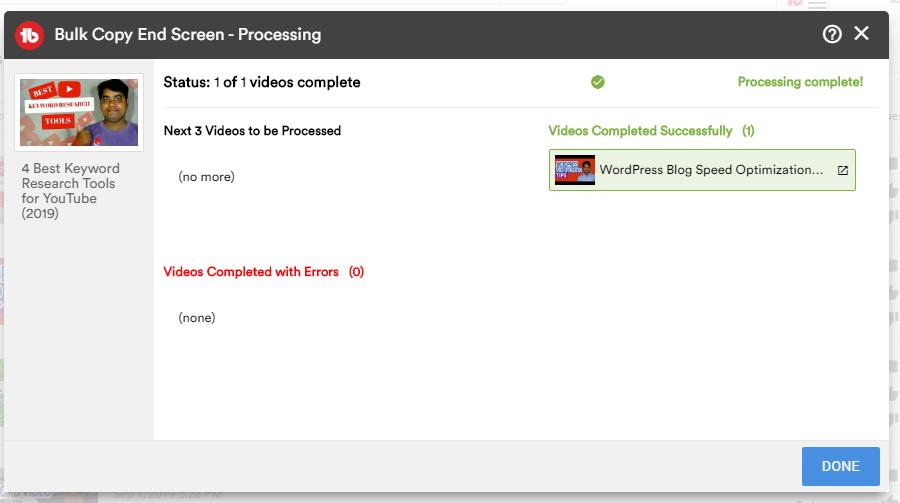 bulk copy end screen processing