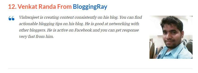 my testimonial displayed on blogwithvk blog