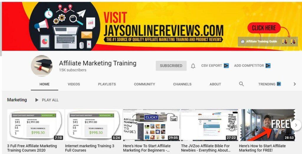 Affiliate Marketing Training YouTube Channel