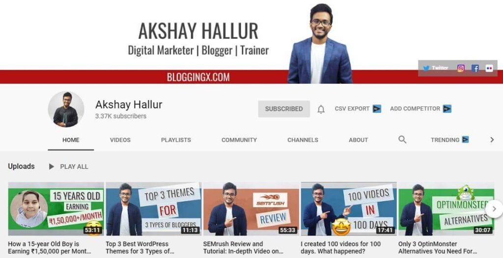 Akshay Hallur YouTube Channel for Blogging
