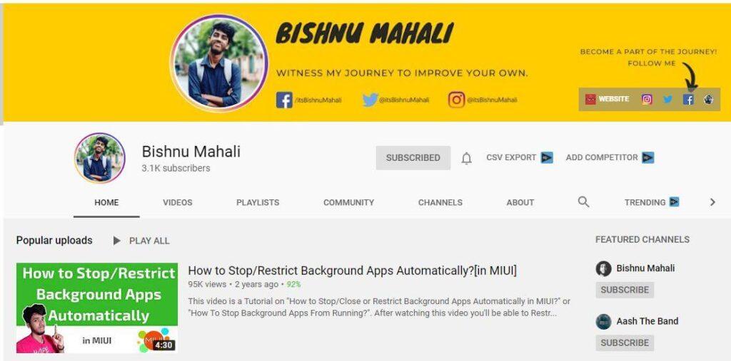 Bishnu Mahali YouTube Channel for Blogging