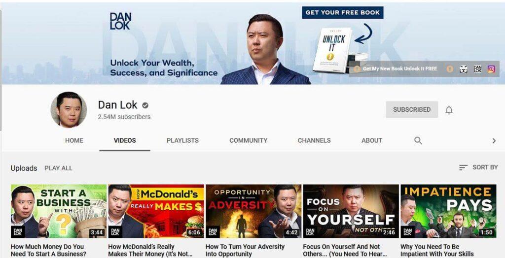 Dan Lok YouTube Channel for Online Marketing & Entrepreneurship