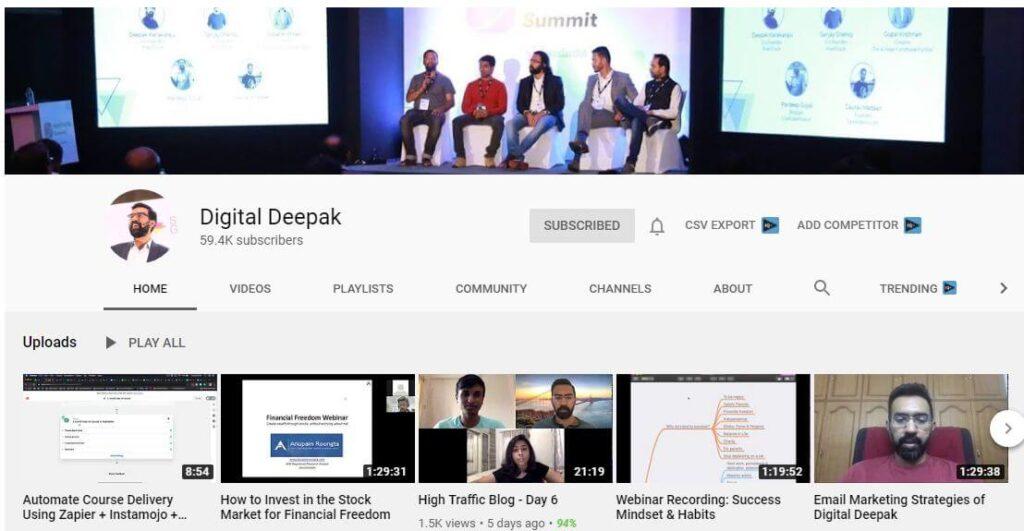 Digital Deepak YouTube Channel for Digital Marketing