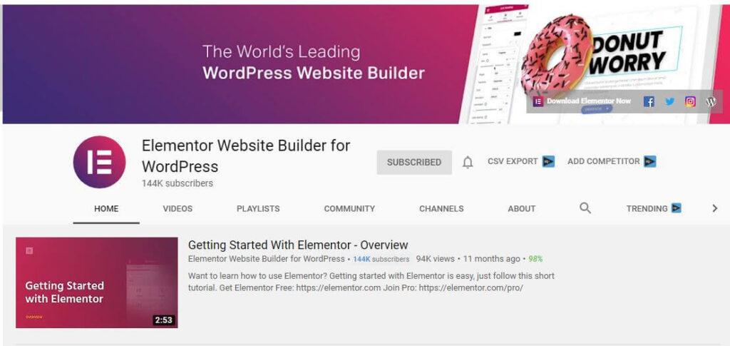 Elementor Website Builder for WordPress YouTube Channel