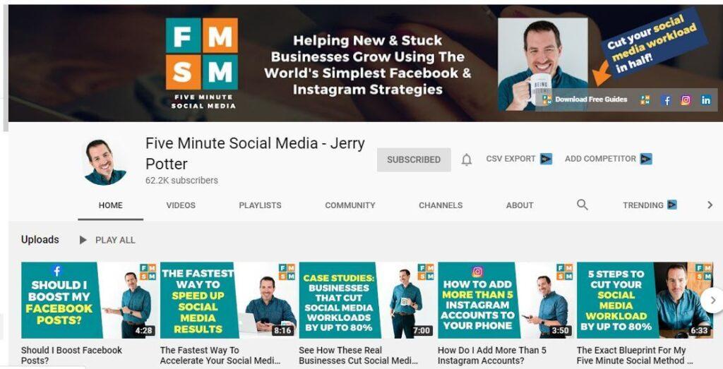 Five Minute Social Media YouTube Channel for Social Media Marketing