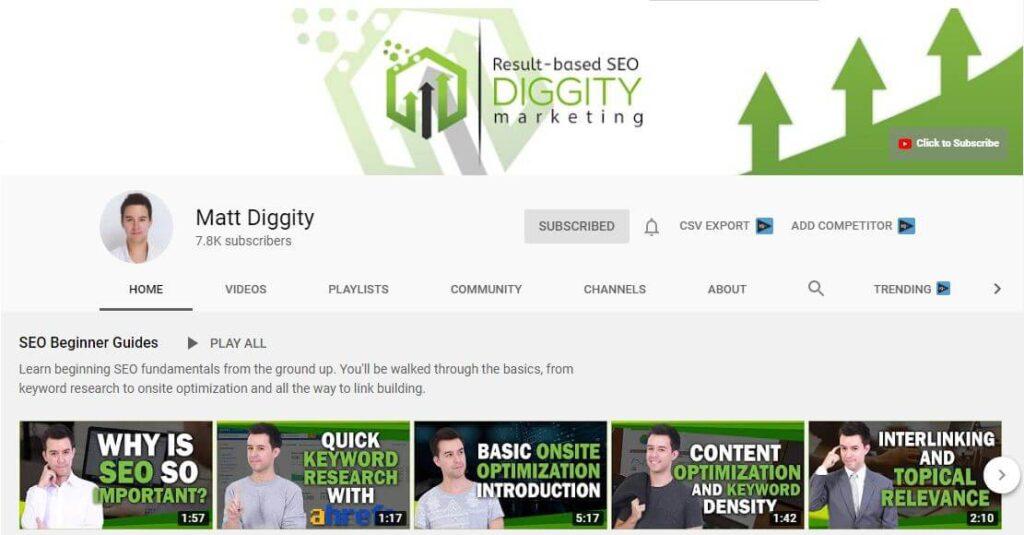 Matt Diggity YouTube Channel for SEO