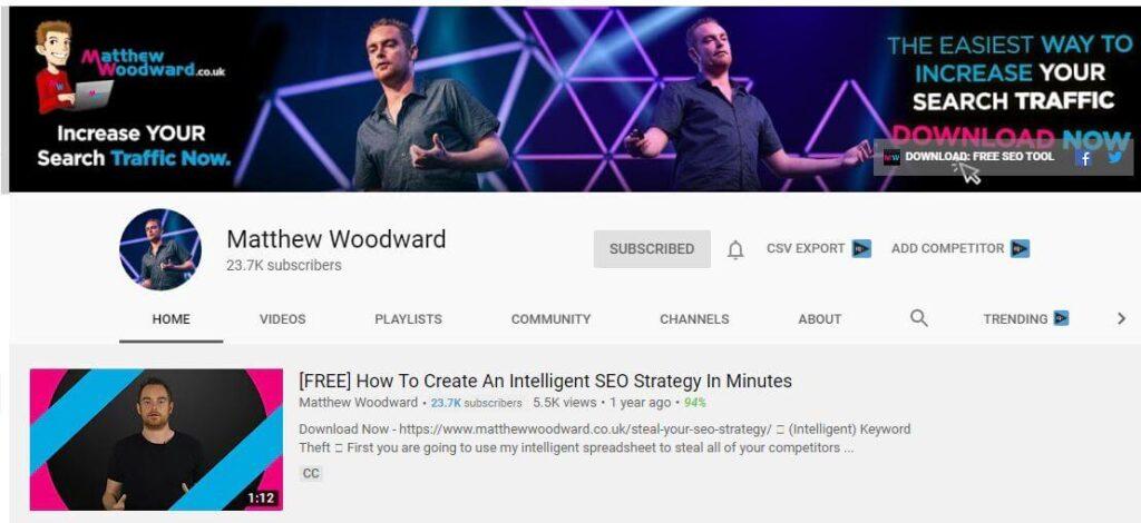 Matthew Woodward YouTube Channel for SEO