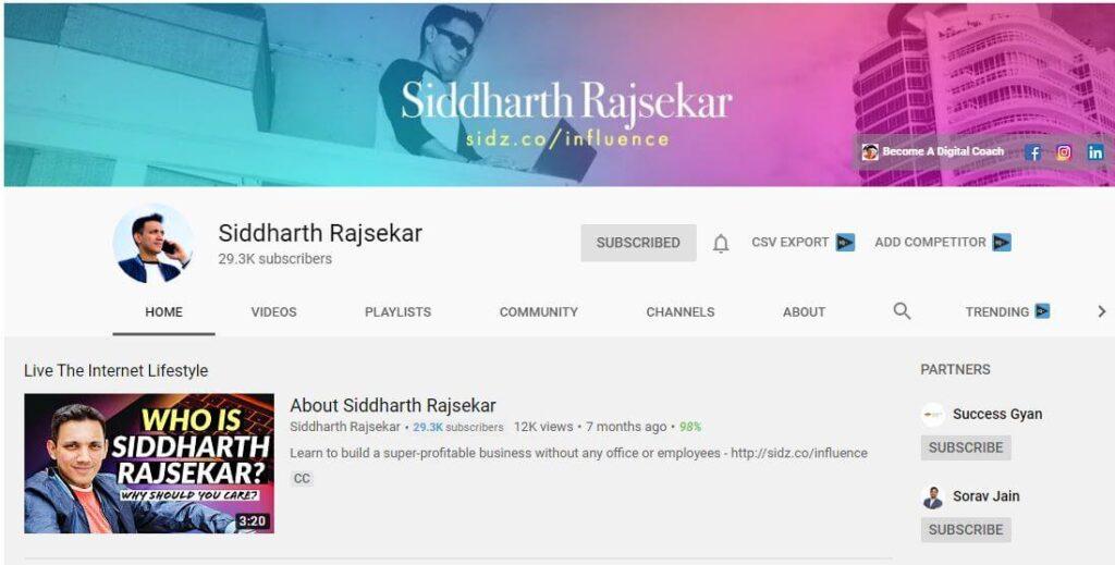 Siddarth Rajasekar YouTube Channel for Digital Marketing