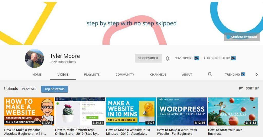 Tyler Moore YouTube Channel for WordPress