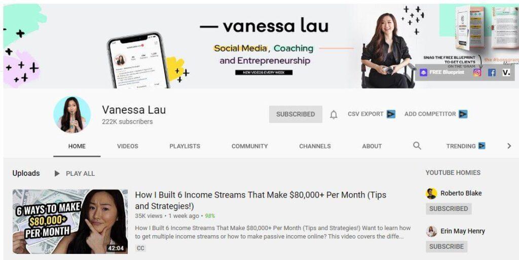 Venessa Lau YouTube Channel for YouTube Marketing