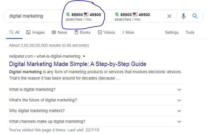 Surfer - Search volume for keyword digital darketing