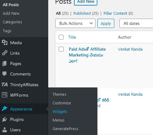 widgets tab in wordpress
